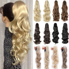 100% Natural Jaw Claw On Hair Extensions Real Thick Ponytail Clip In Fake Hair