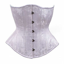 White Floral Bridal Corset Underbust Steel Boned Body Shapewear Lace Up Cincher