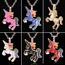 Fashion Crystal Horse Animal Pendant Necklace Chain Spring Women Jewelry Gift
