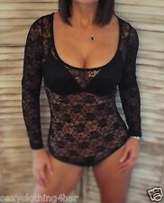 Very Sexy Lace Sheer Scoop Neck Low Cut Cleavage Bodysuit Fitted Shirt Black L