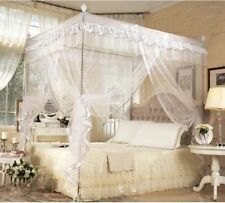 White 4 Corner Post Bed Canopy Mosquito King Queen Twin Sizes Netting Or Frame