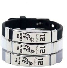 Tim Duncan  Basketball Bracelet Silicone Stainless Steel adjustable Wristband