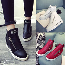 Leather Women High Top Hidden Wedge Heel Casual Flat Sneakers Shoes Casual Shoes