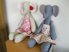 handmade large 40cm tilda elephant in dress fabric soft toy nursery new baby