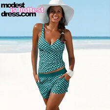 Modest is Hottest Tankini Polka-Dot Tankini High Waisted Vintage Retro Swimsuit