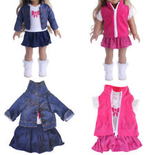 Doll Fancy Jeans Shirt Dress Suit for 18' American Girl Doll Clothes Outfit HU