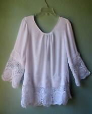 New~White Eyelet Crochet Lace Peasant Blouse Boho Top Tunic Bell Sleeve~L/XL