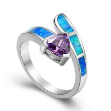New Wedding Party Jewelry Gift Amethyst & Blue Opal Silver Ring size 6 7 8 9