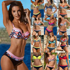 Women Swimwear Padded Bra Swimsuit Push-up Bikini Top Bottom Bathing Beachwear