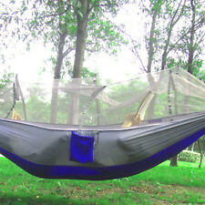 NEW Portable Double Hammock With Mosquito Net Camping Survival Parachute Cloth -