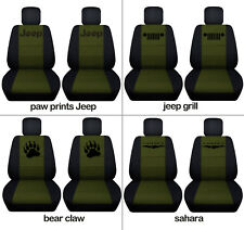 Fit JK wrangler  front car seat covers blk-hunter green w/ bear claw, jeep grill