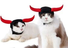 Pet Halloween Hat Costume Bull Ox Horn Devil Cats Dog Cap Cosplay Party Headwear
