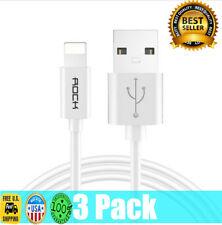 3 Pack ROCK Apple iPhone X 8 7 6S plus 5 Lightning USB Cable Charger 2018