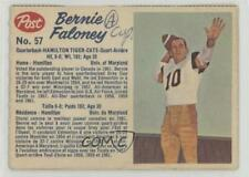 1962 Post Cereal CFL #57.1 Bernie Faloney (perforated) Hamilton Tiger-Cats (CFL)