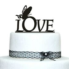 Buythrow® Acrylic Cake Topper Love Wedding With Butterfly Design Cake