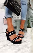IKRUSH Womens Alana Faux Suede Studded Wedges