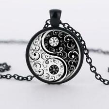 Fashion Pendant Necklace Silver Chain Cabochon Flower Glass Yin Yang Alloy Tibet