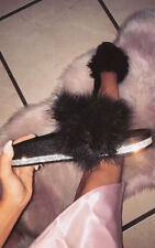 IKRUSH Womens Paris Faux Fur Diamante Feather Sliders