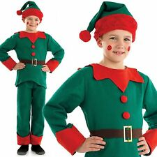 Child Elf Costume Santas Helper Boys Girls Christmas Kids Fancy Dress Outfit New