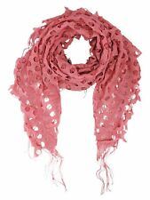 OPEN KNIT LACE NET FRINGED SHAWL SCARF WRAP