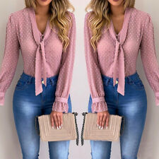 Women Bow Tie Neck Chiffon Long Sleeve Blouse Tops Casual Office Work Shirts BY