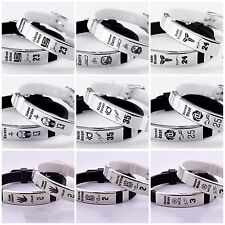 Set of 2 White end Black Basketball Sport Bracelet Silicone and Stainless Steel