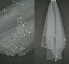 Elbow Length Veils With Comb For Ladies Beads Edge Stylish Polyester Bridal Veil