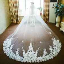 Long Wedding Veils With Comb Bling Sequins Lace Edge Style One-Layer Bridal Veil