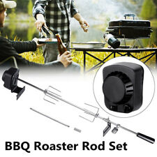 BBQ Rotisserie Spit Roaster Rod Grill Stainless Steel Charcoal 4W Motor Kit