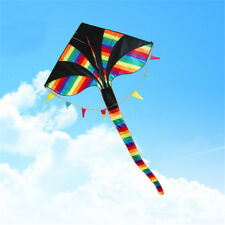 Colorful Huge Triangle Kite with Tail Outdoor Fun Sport Children Kids Toy