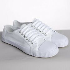 WHITE PLIMSOLES PLIMSOLLS PUMPS TRAINERS LACE UP NEW CANVAS FLAT SHOES MEN WOMEN