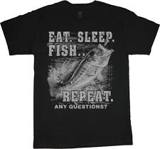 Eat Sleep Fish Repeat Funny Fishing Tee Shirt T-shirt men's bass fishing tee