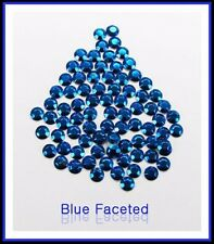 Blue Hotfix Iron on Rhinestuds faceted, size 2, 3, 4mm