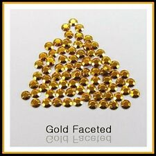 Gold Hotfix Iron on Rhinestuds faceted, size 2, 3, 4mm