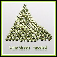 Lime Green Hotfix Iron on Rhinestuds faceted. 2, 3, 4mm