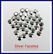 Silver Hotfix Iron on Rhinestud faceted 2, 3, 4, 5, 6mm