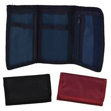 NEW Mens Boys Girls Plain CANVAS Tri-Fold Velcro WALLET Black Red Navy Handy