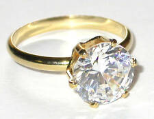 9mm CZ SOLITAIRE RING Round Clear Cubic Zirconia 14K Gold Plated