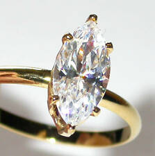Marquise Cubic Zirconia SOLITAIRE RING 14K Gold Plated Clear CZ