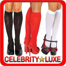 Sheer Knee High Stockings Socks Black Red White Fancy Dress Costume School Girl