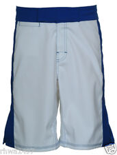 UN92 Pro-Fighter, White/Blue, Blank MMA Fight Shorts