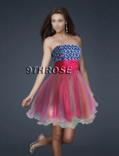 PINK BLUE BEADED MULTI COLOR PARTY/SHORT/COCKTAIL DRESS