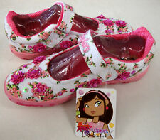 SKECHERS TWINKLE TOES LILY LOO Flowers Girl's Shoes White Pink Size 4.5 Big Kids