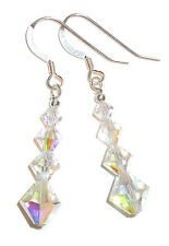 CLEAR AB Crystal Earrings Sterling Silver Dangle Swarovski Elements