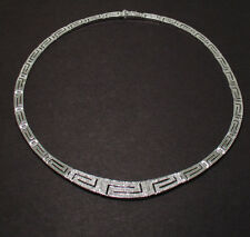 Diamonique CZ Anti-Tarnish Greek Key Chain Necklace 925 Sterling Silver