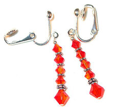 FIRE OPAL ORANGE Crystal Earrings Dangle Bali Sterling Silver Swarovski Elements