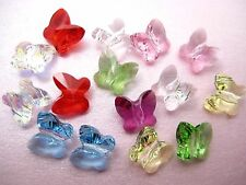 2 Genuine SWAROVSKI Crystal 5754 Butterfly BEADS 8mm Clear AB/ Lt Rose/ Fuchsi