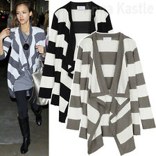 AnnaKastle New Womens Ladies Wide Stripe Draped Wrap Cardigan size S - M