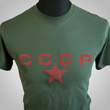 CCCP Retro Army T Shirt USSR Russia Russian Soviet Union Cool Hipsta Green
