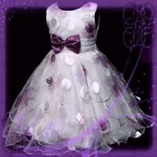 Purples Christmas Bridesmaid Pageant Flowers Girls Dresses SIZE 3-4-5-6-7-8Y